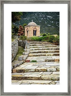 Stone Stair Walkway At Moni Osios Loukas In Distomo, Greece Framed Print