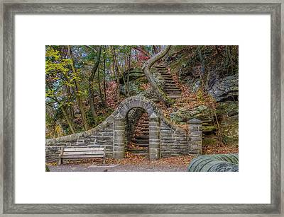 Stone Steps At Rex Avenue In Autumn Framed Print
