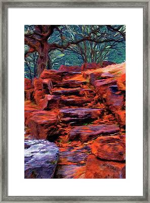 Stone Steps In Autumn Framed Print
