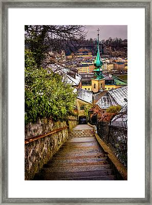 Stone Steps Of Kapuzinerberg Salzburg In Winter Framed Print by Carol Japp