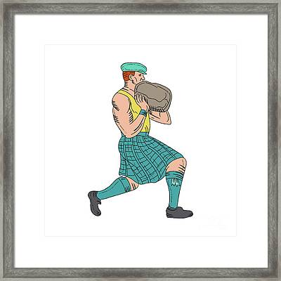Stone Throw Highland Games Athlete Drawing Framed Print