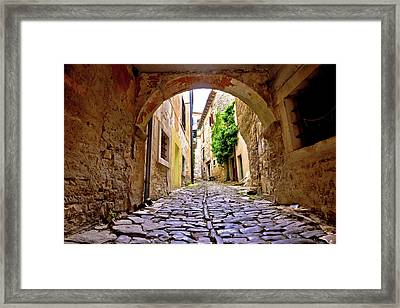 Stone Town Of Groznjan Old Street  Framed Print