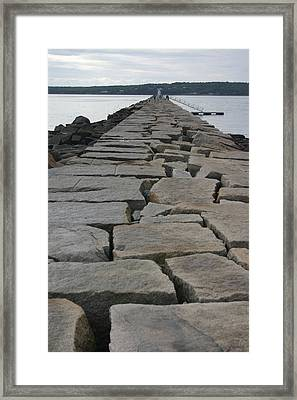 Stone Walk To Light House Framed Print by Dennis Curry
