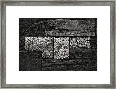 Stone Wall And Lichen Framed Print