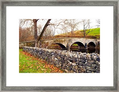 Stone Wall At Burnside Bridge Framed Print
