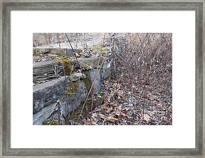 Stone Wall At Jackson Lock Framed Print