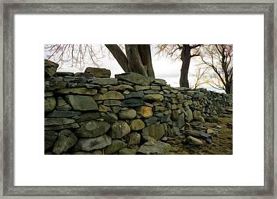 Stone Wall, Colt State Park Framed Print by Nancy De Flon