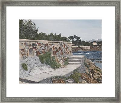 Framed Print featuring the painting Stone Wall France by Betty-Anne McDonald
