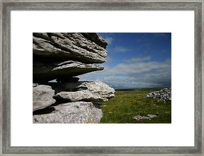 Stone Wall In The Burren Framed Print by Martina Fagan