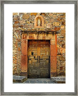Stone Wall With Door Framed Print