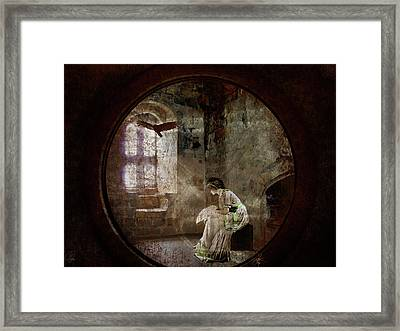 Framed Print featuring the digital art Stone Walls A Prison Make by Margaret Hormann Bfa
