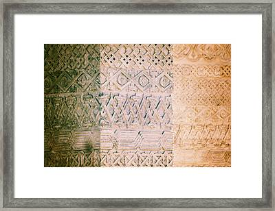 Stone Walls With Geometric Carved Models Framed Print by Vlad Baciu
