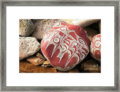 Stone With Tibetian Mantras Tibet Yantra.lv Framed Print by Raimond Klavins