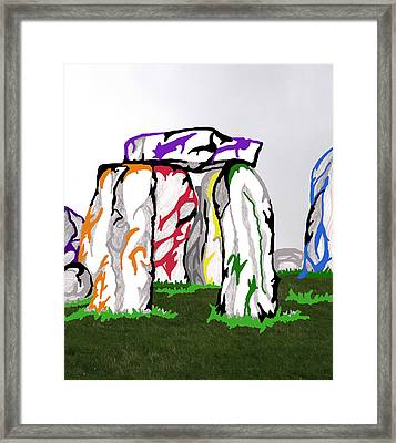 Framed Print featuring the mixed media Stonehenge Chakras by Mary Mikawoz