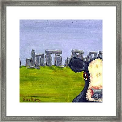 Stonehenge Cow Framed Print