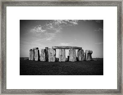 Stonehenge On A Clear Blue Day Bw Framed Print