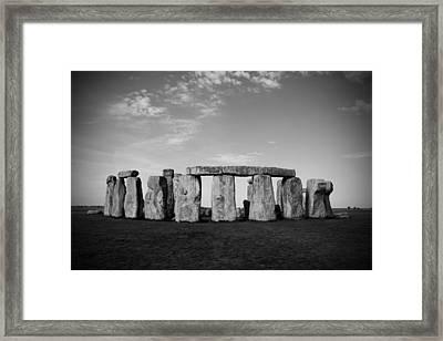 Stonehenge On A Clear Blue Day Bw Framed Print by Kamil Swiatek