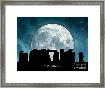 Framed Print featuring the digital art Stonehenge by Phil Perkins