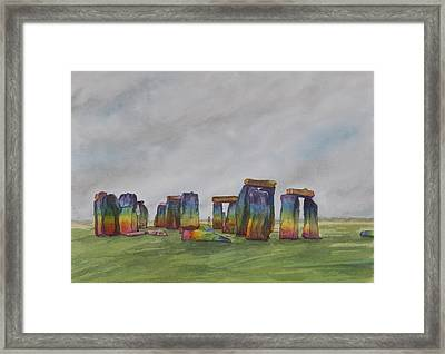 Stonehenge Rainbow Framed Print by Debbie Homewood