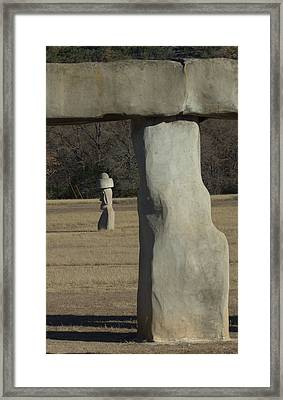 Framed Print featuring the photograph Stonehenge Two Meets Easter Island by Karen Musick