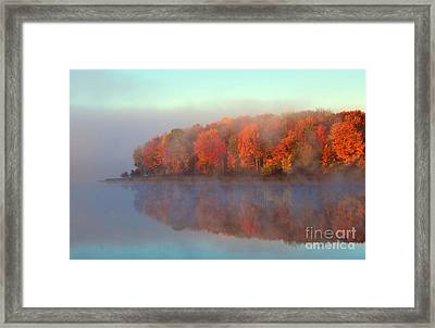 Stoneledge Lake Pristine Beauty In The Fog Framed Print by Terri Gostola