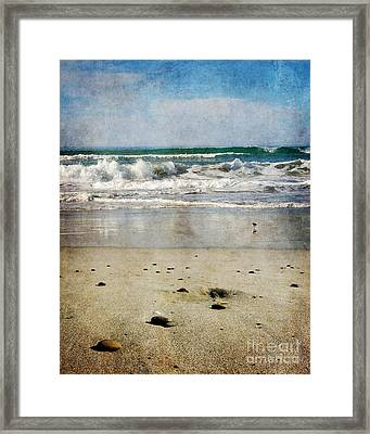 Stones Along The Shore Framed Print by Laura Iverson