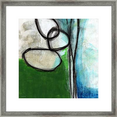Stones- Green And Blue Abstract Framed Print by Linda Woods