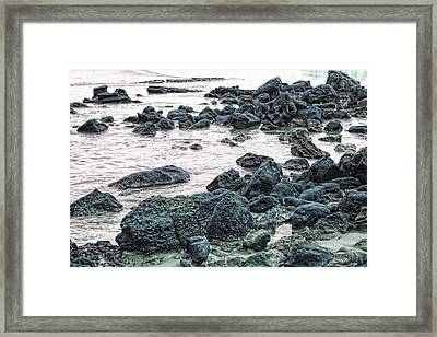 Stones On The Beach Framed Print