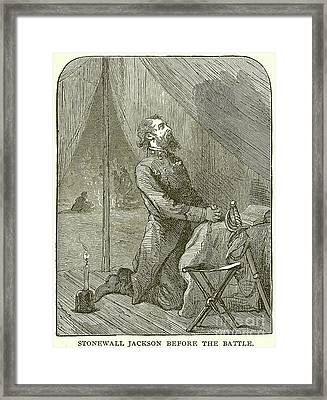 Stonewall Jackson Before The Battle Framed Print by English School