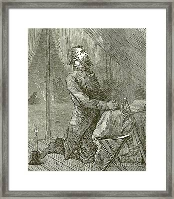 Stonewall Jackson Praying Before The Battle Framed Print