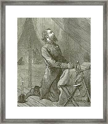 Stonewall Jackson Praying Before The Battle Framed Print