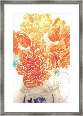 Stoneware Pitcher And Flowers Framed Print by Edith Thompson