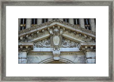 Masonry Of Detroit's Michigan Central Station Framed Print by Anita Hiltz
