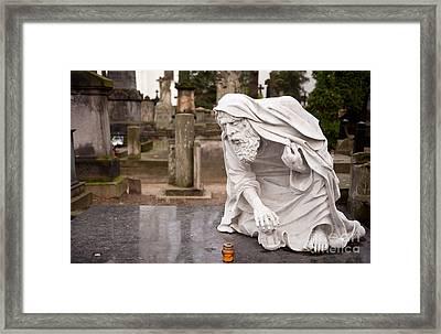 Stonework Of Pensive Chronos Statue Framed Print