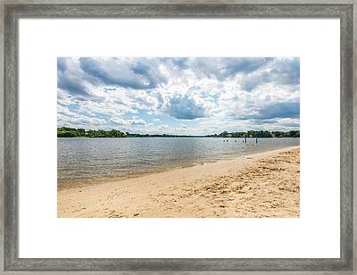 Sand, Sky And Water Framed Print