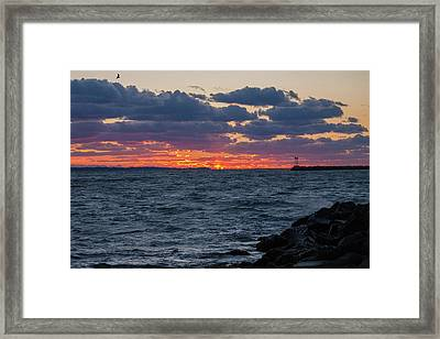 Framed Print featuring the photograph Stonington Point Sunset by Kirkodd Photography Of New England