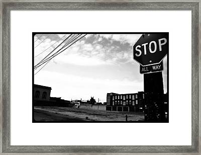 Framed Print featuring the photograph Stop All Way by Christopher Woods