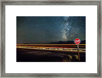 Stop Before Crossing Framed Print by Cat Connor
