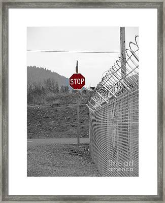 Stop Here And There Too Framed Print by Marie Neder