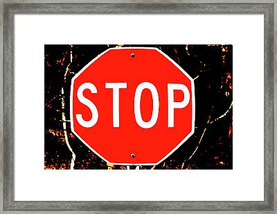 Stop Framed Print by Karol Livote