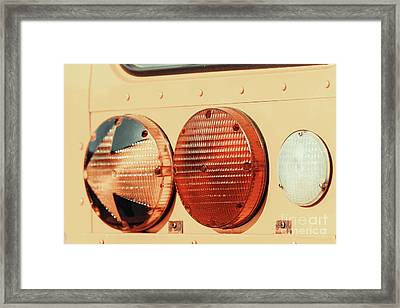 Stop Lights On American School Bus Framed Print