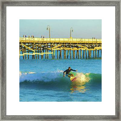 Stop My Turn Surfing Watercolor Framed Print