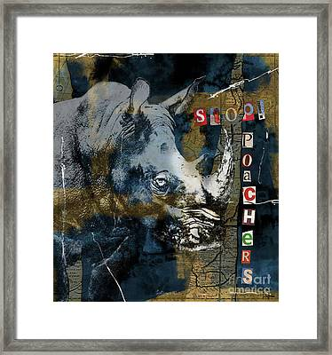 Stop Rhino Poachers Wildlife Conservation Art Framed Print