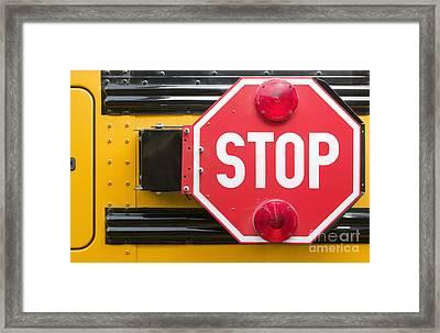 Stop Sign On School Bus Framed Print