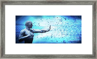 Stopping And Defending From Digital Pixels Flow Framed Print by Michal Bednarek