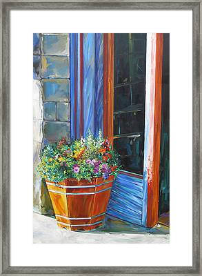 Stopping At An Entryway Framed Print by Karen Doyle