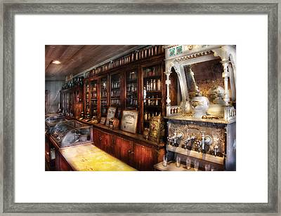 Store - The Local Soda Fountain And Pharmacy Framed Print by Mike Savad