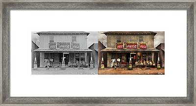 Framed Print featuring the photograph Store - Grocery - Mexicanita Cafe 1939 - Side By Side by Mike Savad