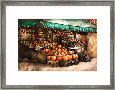 Store - Hoboken Nj - The Fruit Market Framed Print by Mike Savad