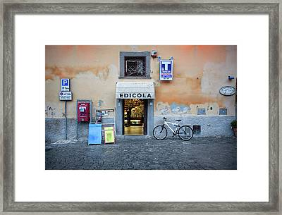 Storefront In Rome Framed Print by Al Hurley